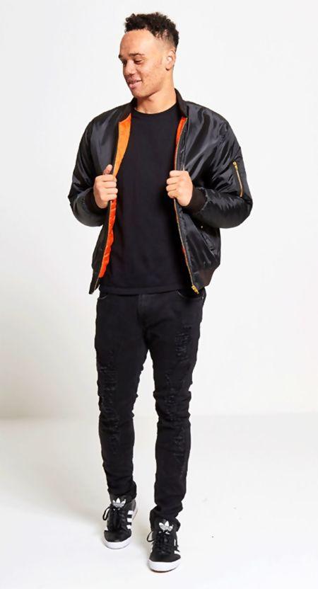 Black MA1 Bomber Jacket Zip Up Biker Jacket
