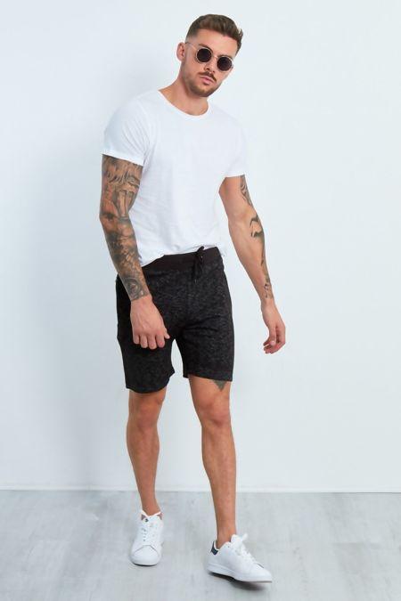 Black Marl Zipped Pocket Jogging Shorts