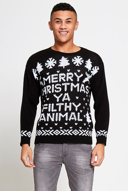 Black Merry Christmas Filthy Animal Christmas Jumper
