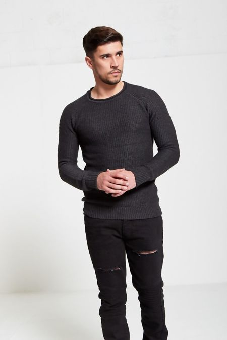 Black Mini Basket Weave Knitted Jumper