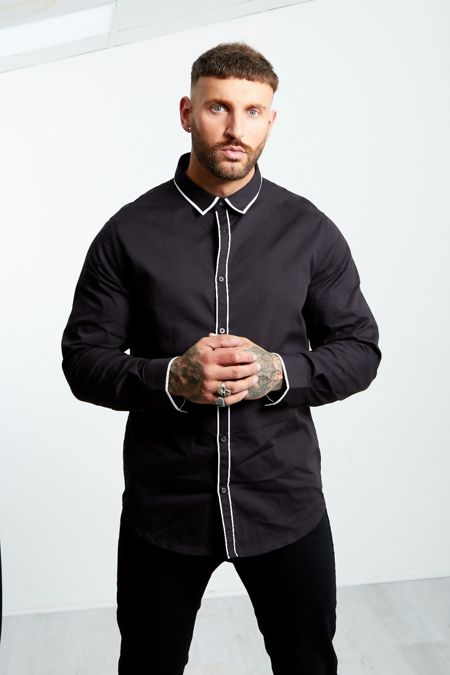Black Monochrome Collar Long Sleeve Shirt