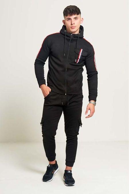 Black Multi Retro Striped Skinny Fit Tracksuit