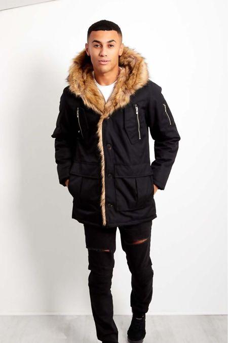 Black Oversized Faux Fur Hood Parka Coat