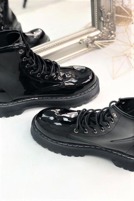 Black Patent Barrel Boots