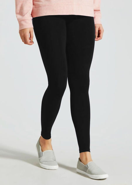 Black Plain Stretchable Viscose Leggings