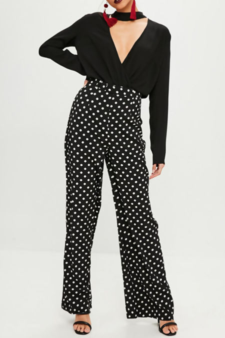 Black Polka Dot Wide Leg Trouser