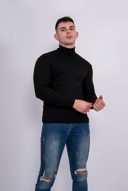 Black Polo Neck Jumper Size 2XL