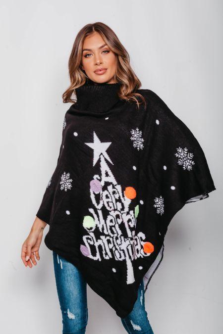 Black Pom Pom Merry Christmas Poncho