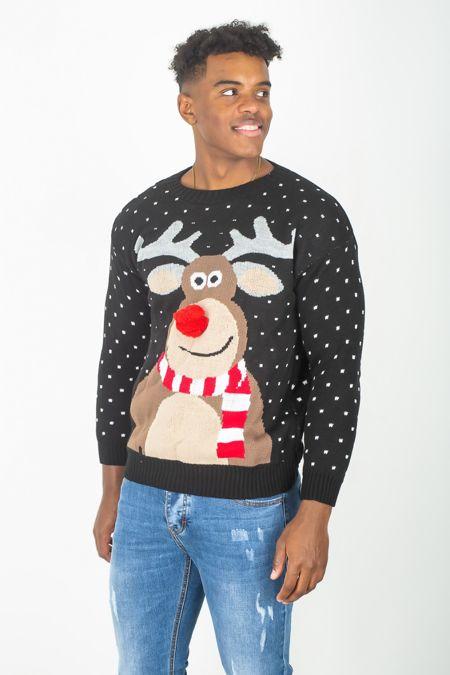 Black Pom Rudolph Christmas Jumper