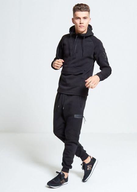 Black Pouch Pocket Skinny Fit Tracksuit