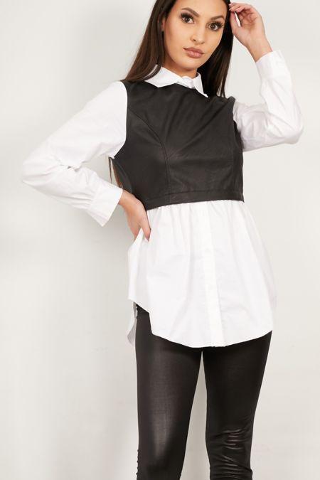 Black PU Bandeau Shirt