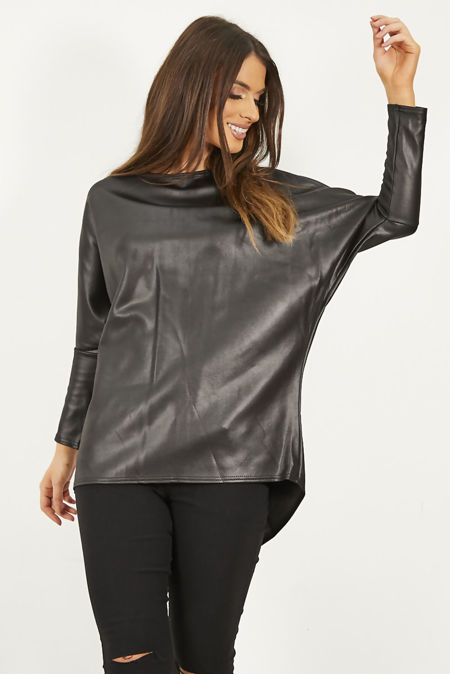 Black Pu Dip Hem Batwing Top