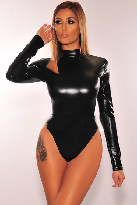 Black PU Roll Neck Long Sleeve Bodysuit