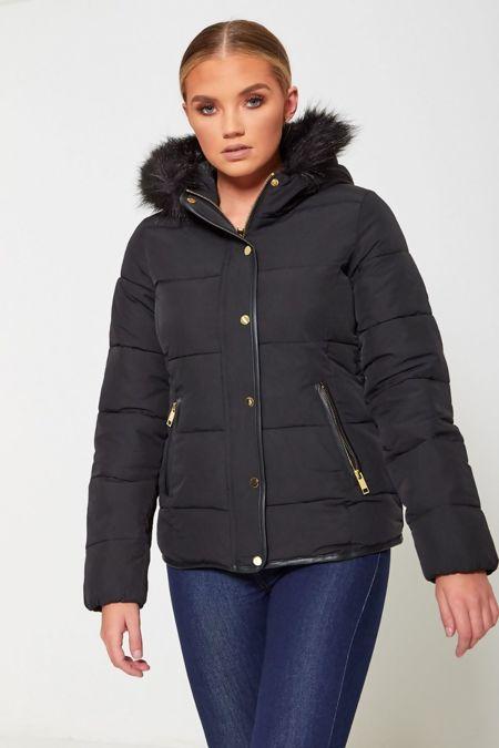 Black Puffer Fur Hood Down Jacket