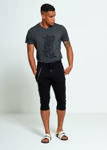Black Quarter Sweat Jogging Bottom
