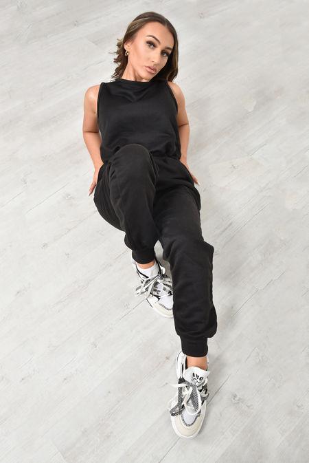 Black Racer Back Pocket Detail Jumpsuit