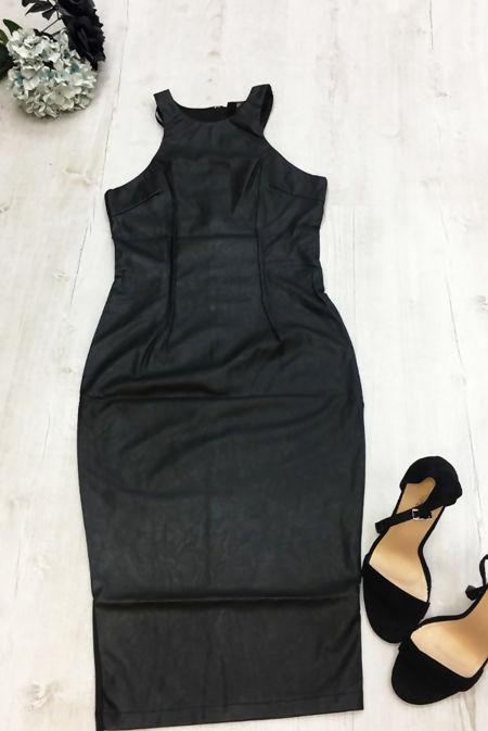 Black Racer PU Bodycon Dress