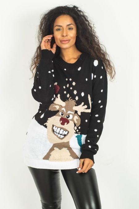 Black  Reindeer Glitter Pom Christmas Jumper