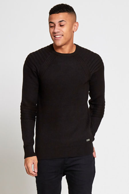 Black Ribbed Biker Jumper