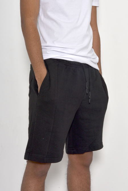 Black Ribbed Detail Sweat Shorts