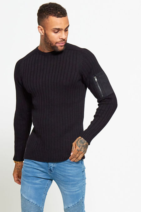 Black Ribbed Shoulder Pocket Crew Jumper