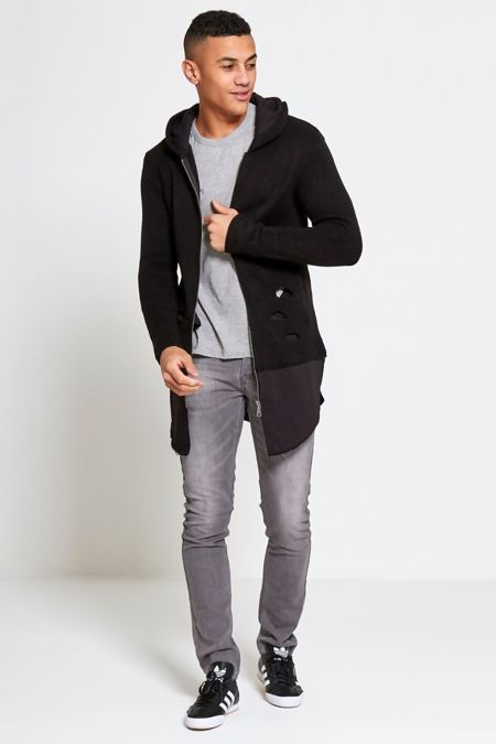 Black Ripped Knitted Longline Hooded Cardigan