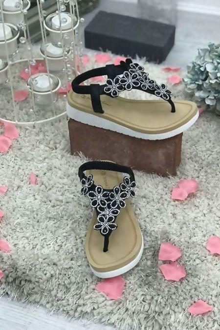 Black Rubber Soul Diamante Bling Sandals