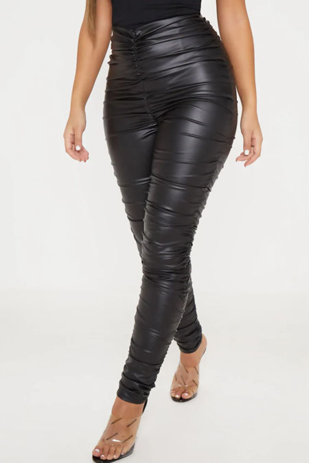 Black Ruched Leather Look Leggings