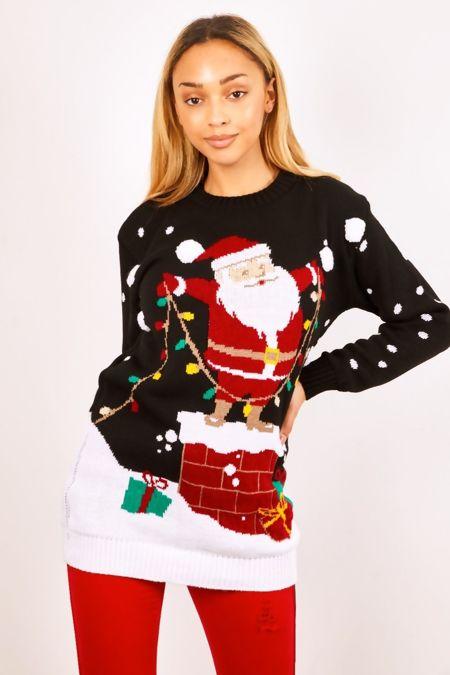 Black Santa Decorating Christmas Jumper