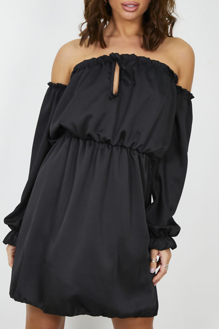 Black Satin Bardot Dress