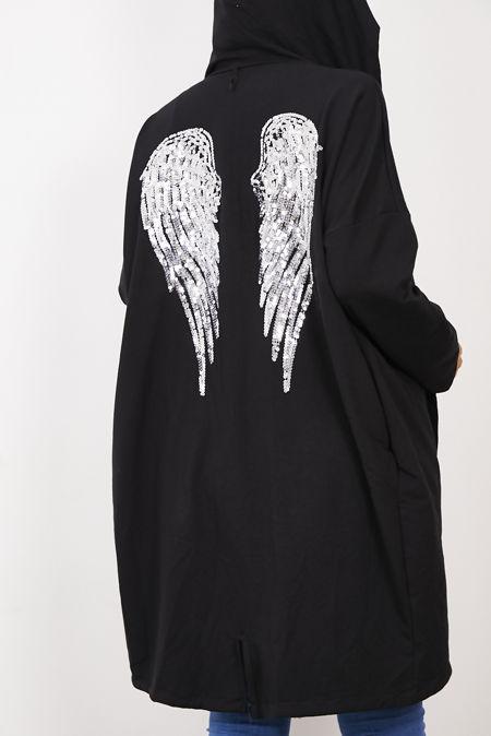 Black Sequin Angel Wing Hooded Cardigan