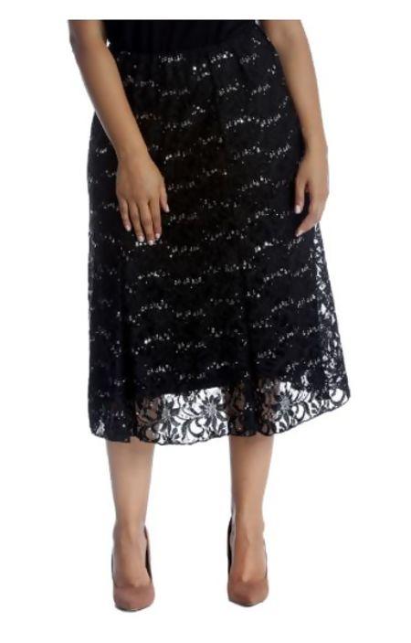Plus Size Black Sequin Flared Skirt