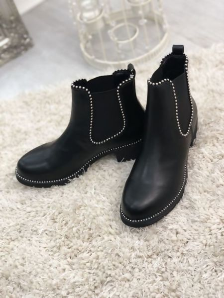 Black Silver Studded Chelsea Boots