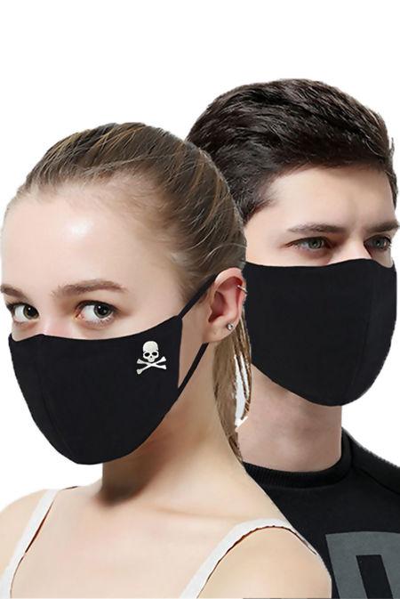 Black Skull Print Mask