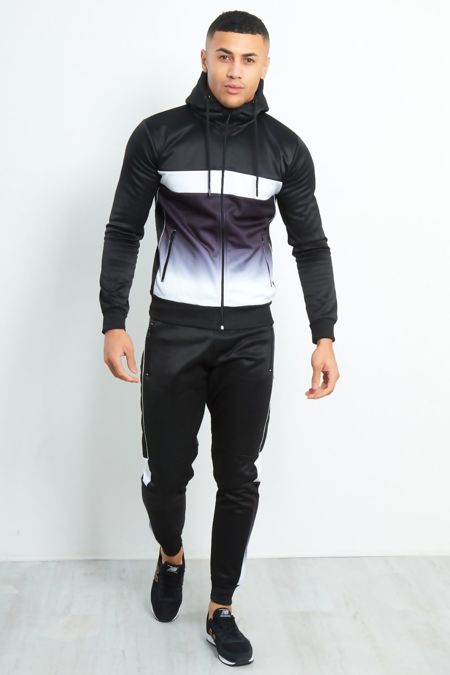Black Slim Fit Two Tone Zip Through Tracksuit