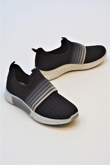 Black Slip On Strapped Training Shoe