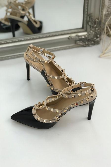 Black Studded Court Heels