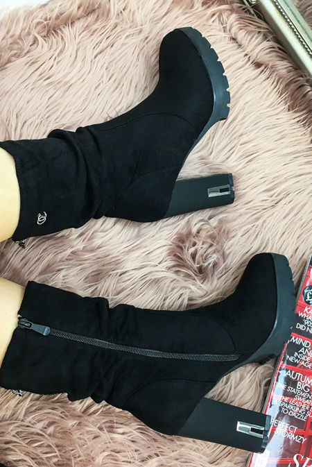 Black Studded Faux Suede Ankle Boots