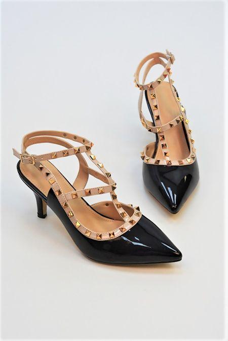 Black Studded Kitten Heels