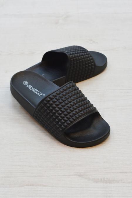 Black Studded Slip On Sliders