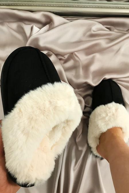 Black Suede Mule Slippers
