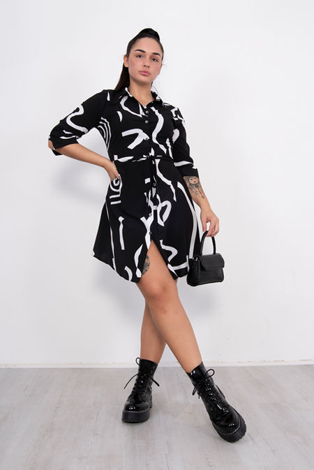 Black Swirl Print Tie Waist Shirt Dress