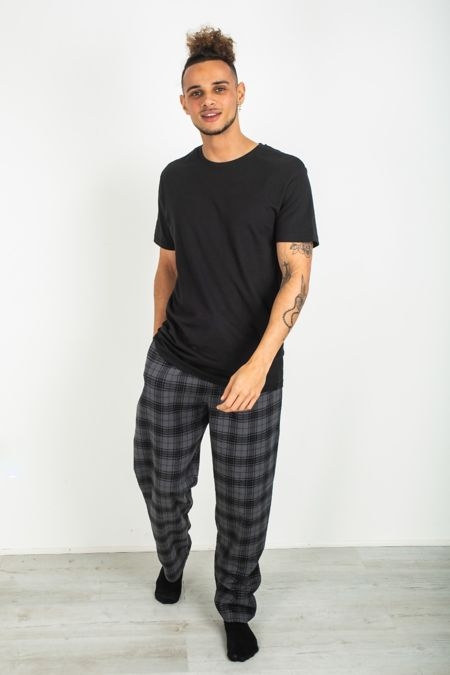 Black Tee and Checked Pyjama Set