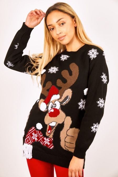 Black Thumbs Up Reindeer Christmas Jumper