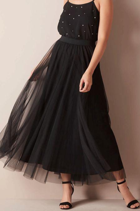 Black Tulle Pleated Mesh Skirt