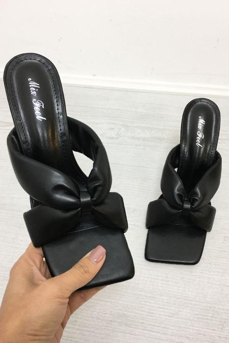 Black Twist Knot Heel Mules