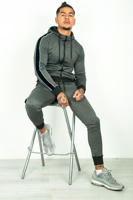Black Velour Tape Panel Skinny Fit Tracksuit