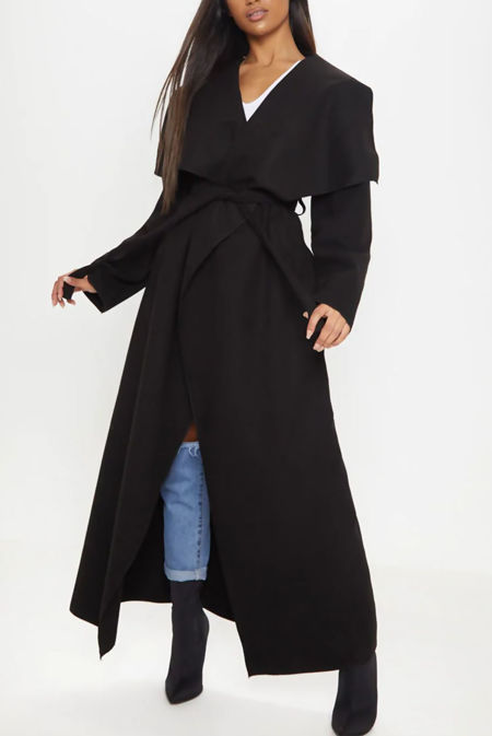 Black Waterfall Drapped Duster Maxi Coat