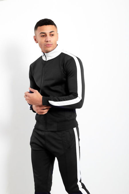 Black White Tape Funnel Skinny Fit Tracksuit Preorder