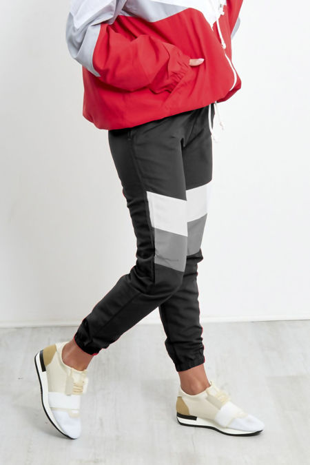 Black With White and Grey Panel Trouser
